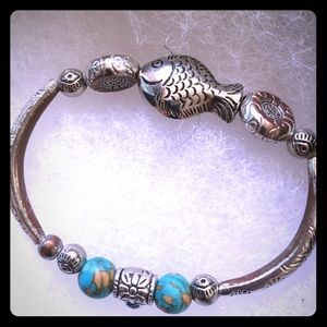Turquoise and etched design bracelet